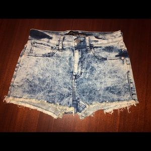 EXPRESS jean shorts raw cut hem; stone-washed look